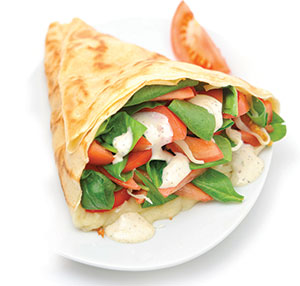 Popeye or Chicken Ceaser Crepe by Crepe Delicious