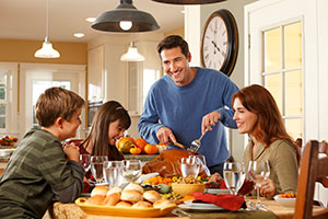 A Family Enjoying Thanksgiving Meal