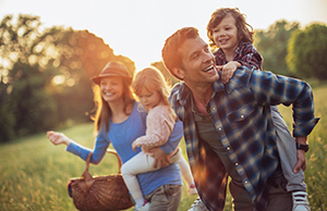 Happy Family Going On Picnic